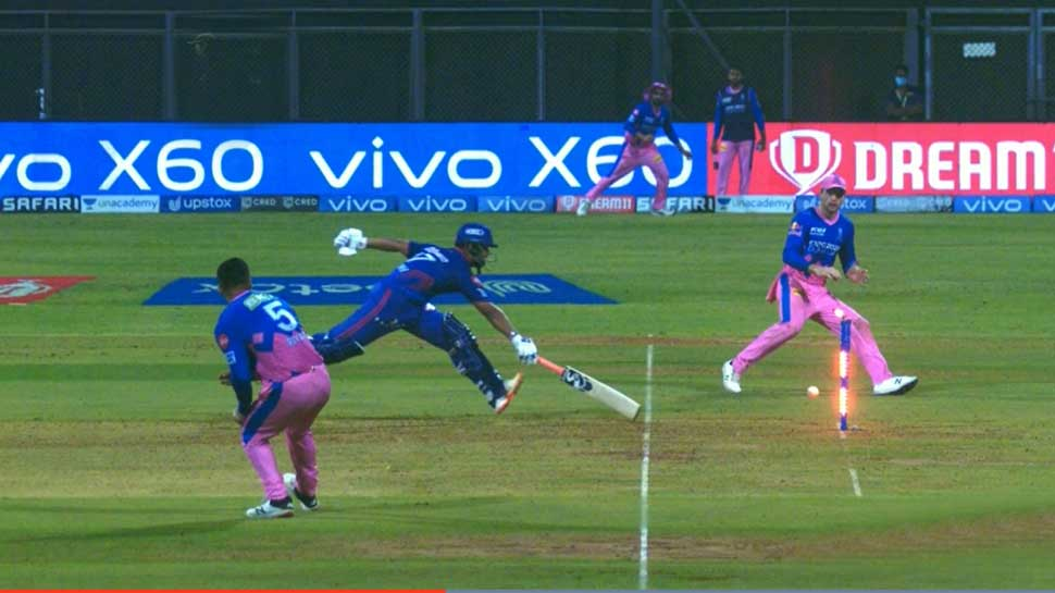 Rishabh Pant getting run out from an excellent throw from Riyan Parag against RR.