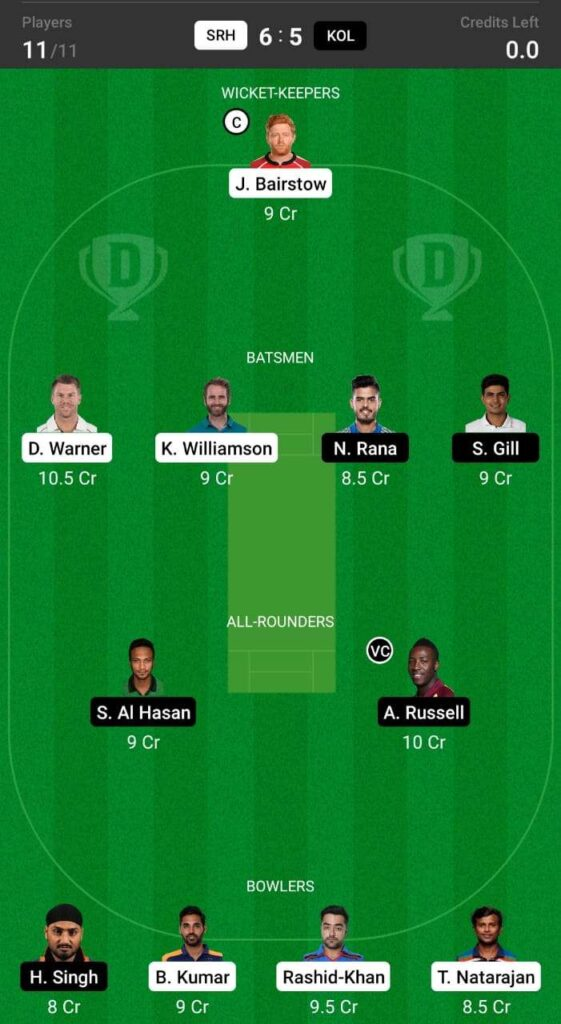 Dream 11 prediction for match between SRH and KKR
