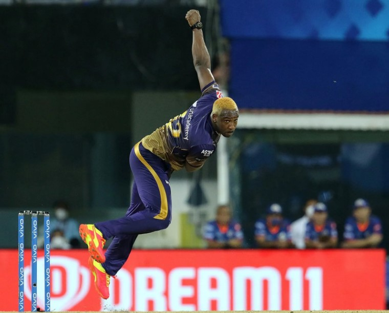 Russell took 4 wickets against MI