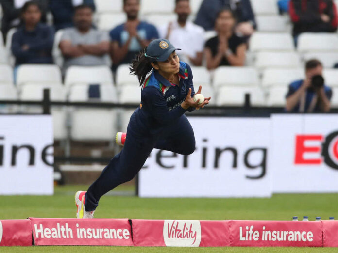 India Women cricketer Harleen Deol took a sensational catch at the long-off boundary in the opening T20I against England Women.