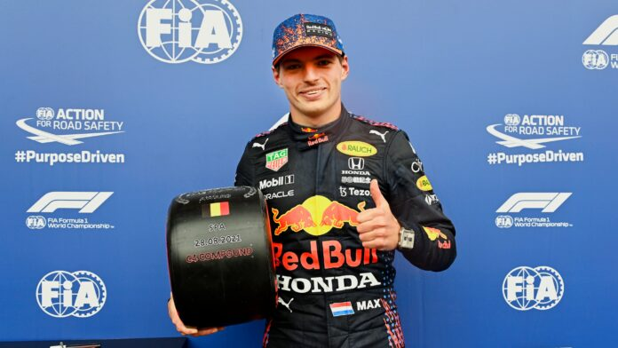 Max on pole in the Belgian GP