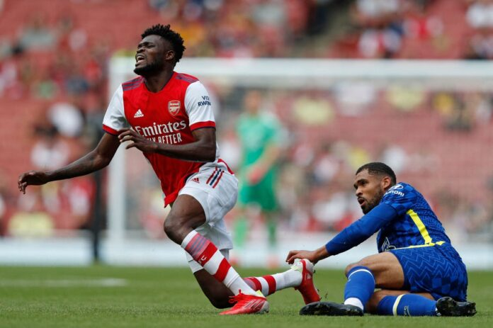Partey's game was cut short when he had to leave the pitch after a crunching tackle