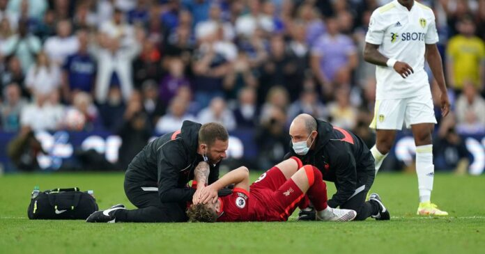 Liverpool youngster Harvey Elliott suffers a horrific ankle injury against Leeds United
